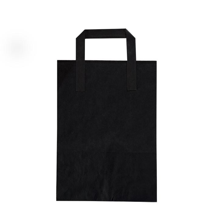Black paper bag for food use 17.5 x 9 h23 cm