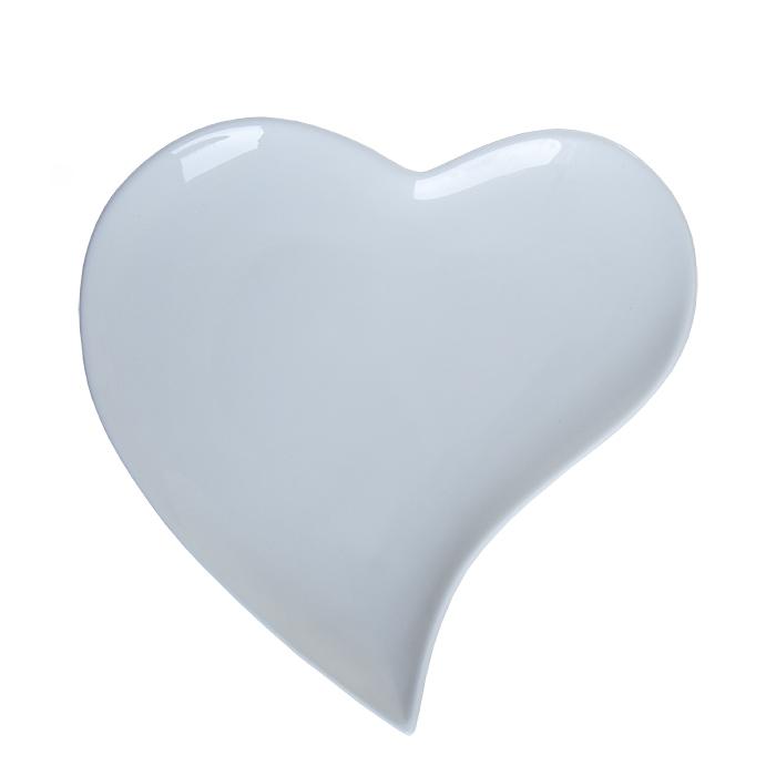 Piatto porcellana bianca a forma di cuore curvo d21 h2.5 cm