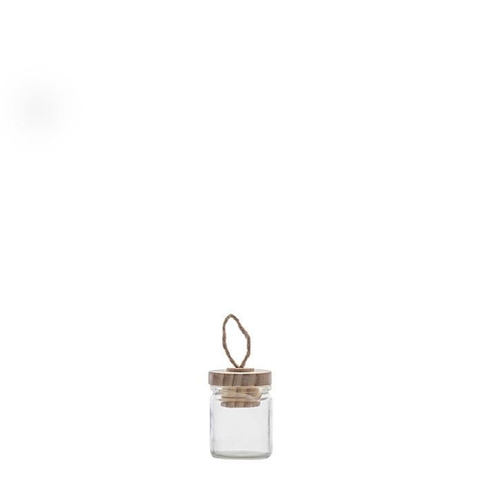 Confezione 12 barattoli in vetro e tappo con asola h6 cm