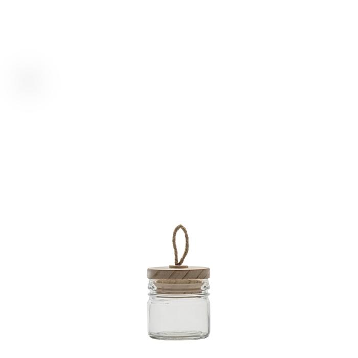 Confezione 12 barattoli in vetro e tappo con asola h7 cm