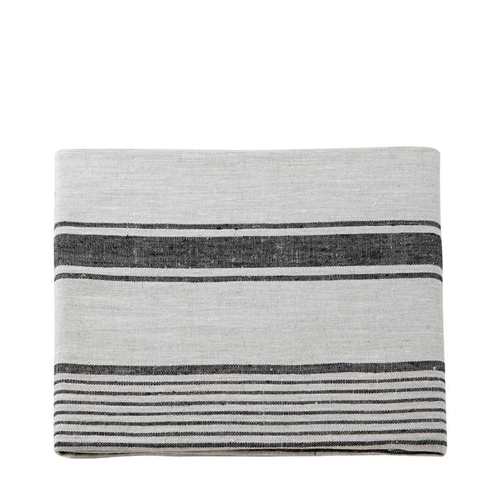 100% natural linen bedcover with black stripes 266 x 285 cm