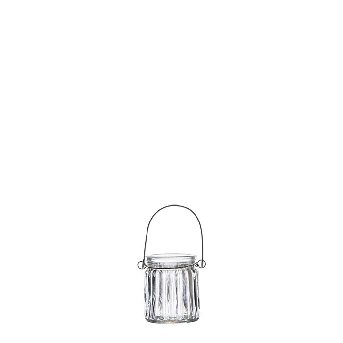 Vaso pensile in vetro a coste imballo singolo d5.2 h6.5 cm