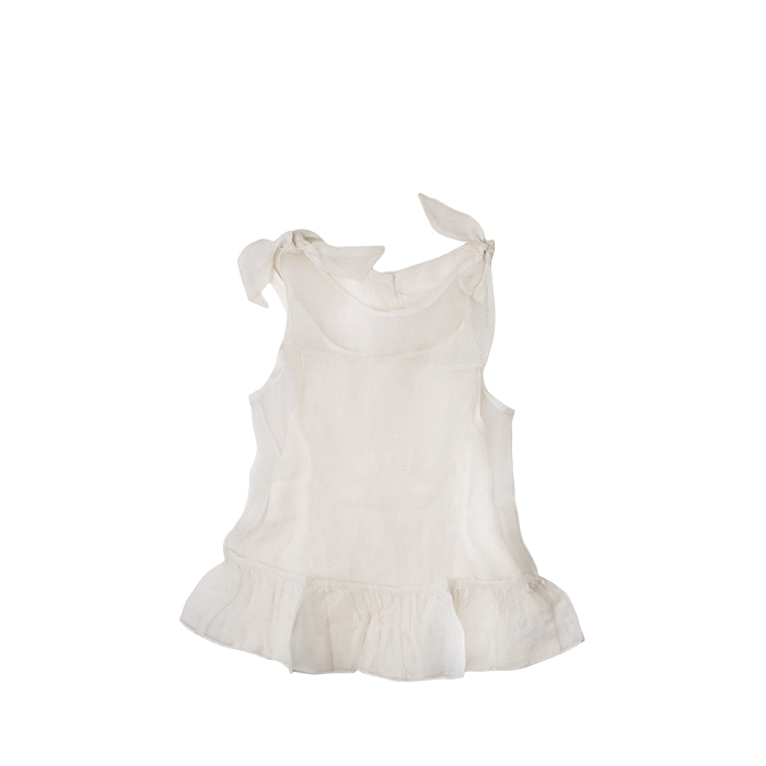Baby cream voile dress with petticoat