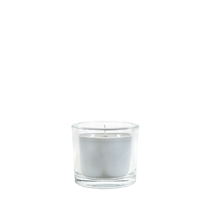 Grey candle cashmere scent in a little glass vase d9 h8 cm