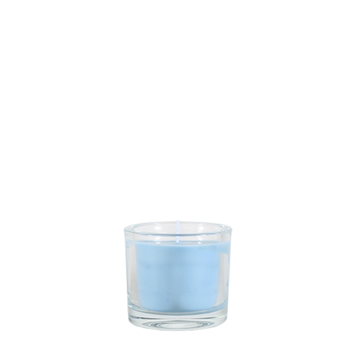 Light blue candle ocean scent in a little glass vase d9 h8 cm