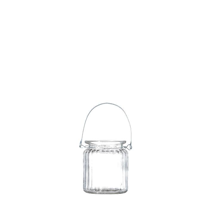 Vaso pensile in vetro a coste imballo singolo d7.5 h9 cm
