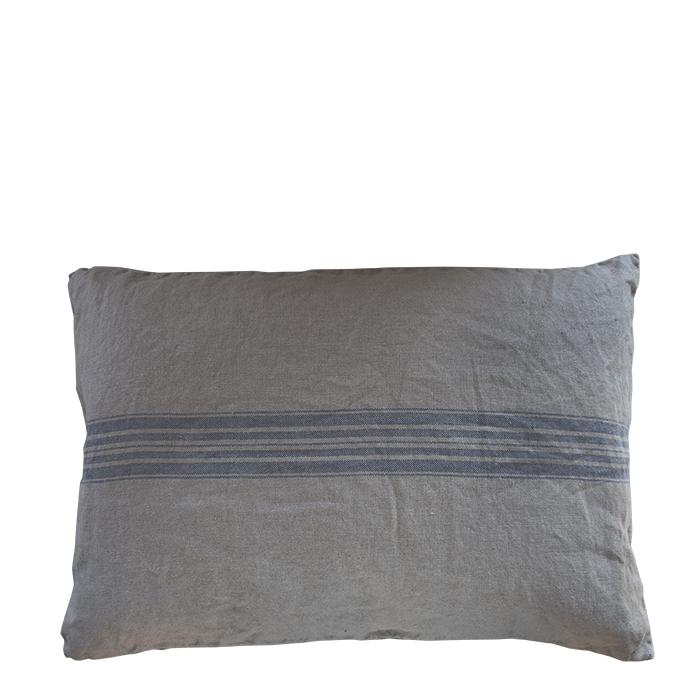 Fodera cuscino 100% lino colore naturale riga blu 42 x 64 cm