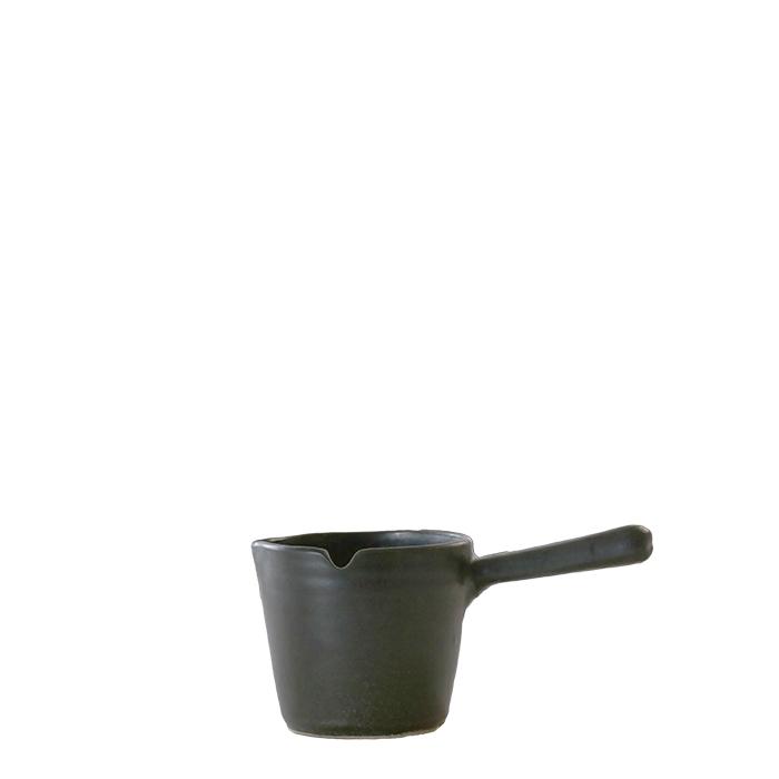 Pentolino con manico in gres nero d8.5 cm