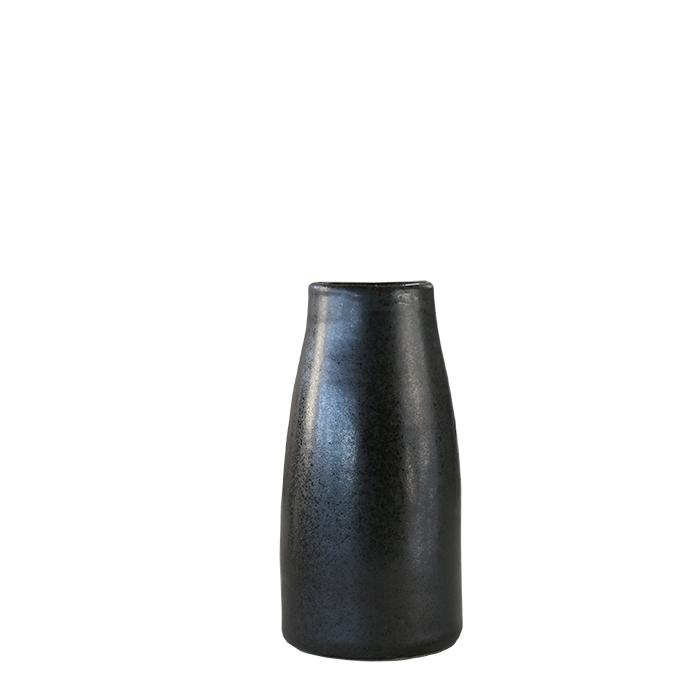 Vasetto capsula big in gres nero h10.5 cm
