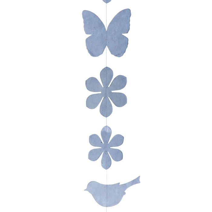 Paper birds/flowers/butterflies handmade garland light blue color 160 cm