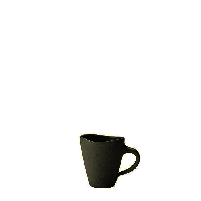 Tasse a cafe lisse en gres noir h6.5 cm