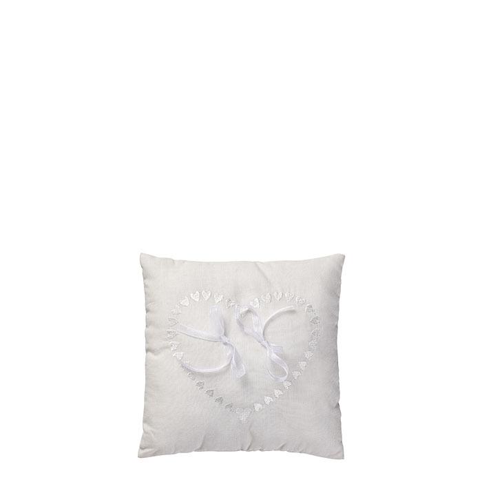 White throw pillow for wedding rings 20 x 20 cm