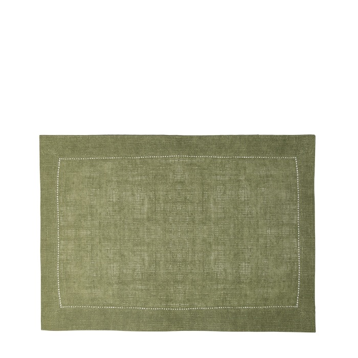 Green cellulose fiber placemat with cross-hatching 31.5 x 47 cm