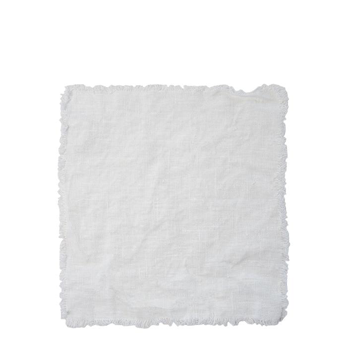 Serviette 100% lin blanc avec franges 40 x 40 cm