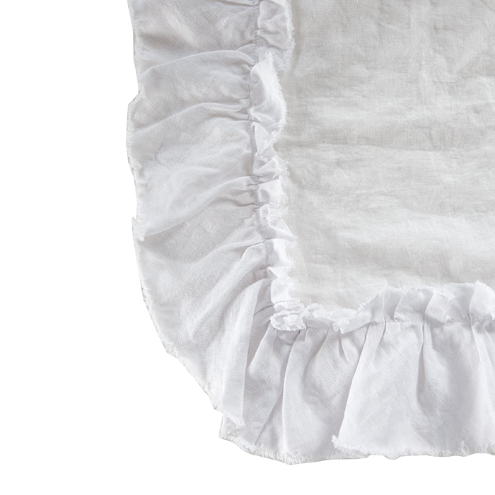 100% white linen tablecloth with frill 156 x 284 cm