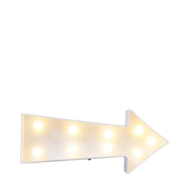 Fleche lumineuse 9 led blancs avec batteries 22 x 5 h10 cm