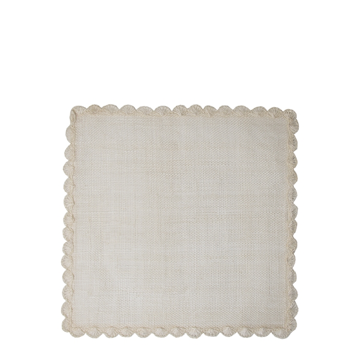 Square cream place mat with decoration 34 cm