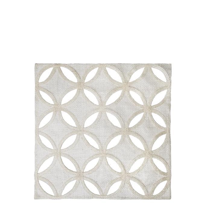 Sottopiatto quadro in abaca bianco petali forati 36 x 36 cm