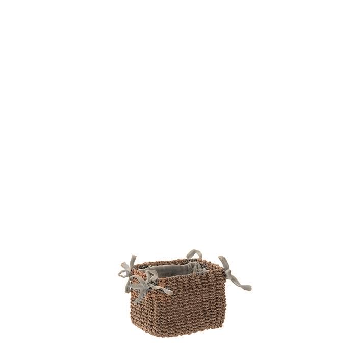 Petit panier en abaca couleur lin avec noeuds 7 x 9 h7 cm