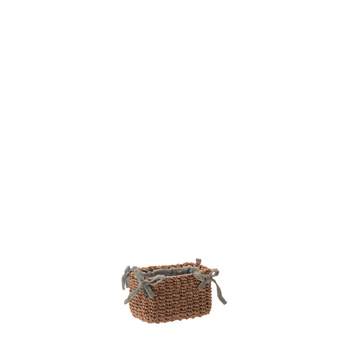 Small abaca basket with bows linen color 6 x 9 h6 cm