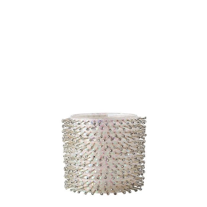 Verre porte-photophore modele blanc herisson d8.5 h8 cm