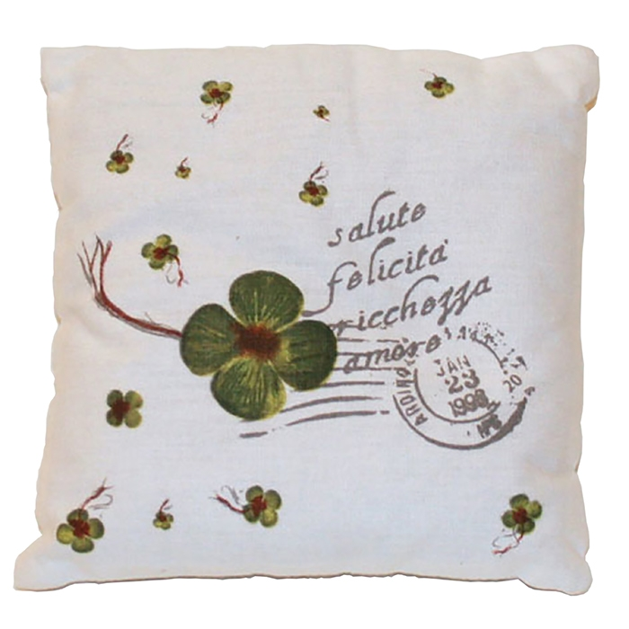 Throw pillow cover with words and clovers 42 x 42 cm