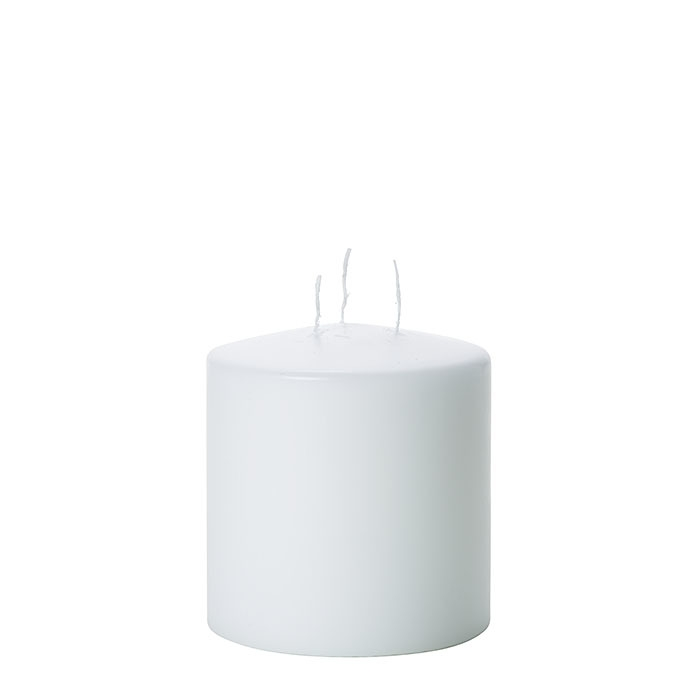 White candle 3 flames d15 h16 cm