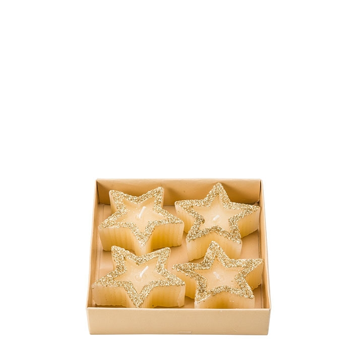 Pack of 4 star floating candles golden edge