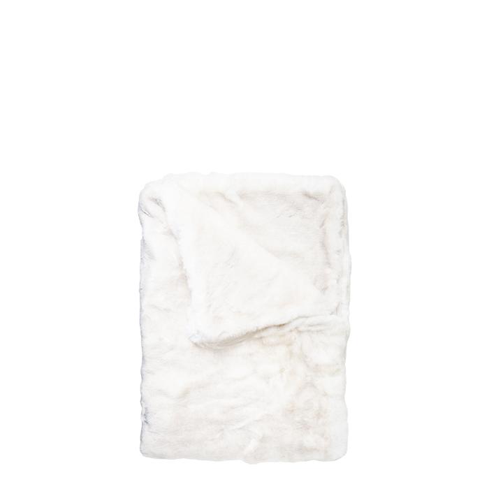 Couverture fourrure synthetique blanche pour lit enfant 70 x 110 cm