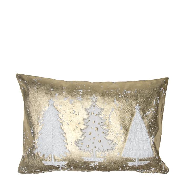Cuscino dorato con tre pini 30 x 45 cm