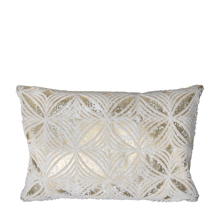 Cuscino dorato con decorazioni 30 x 45 cm