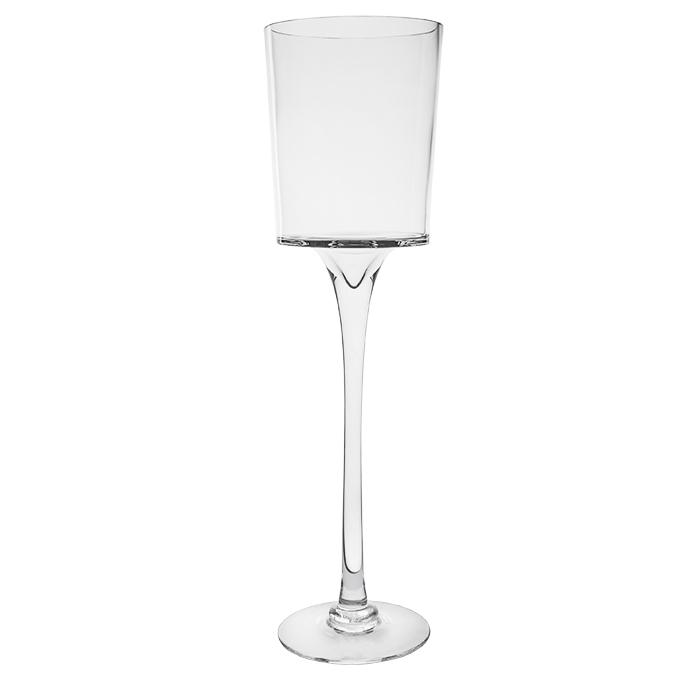 Vaso in vetro svasato con gambo alto h60 cm