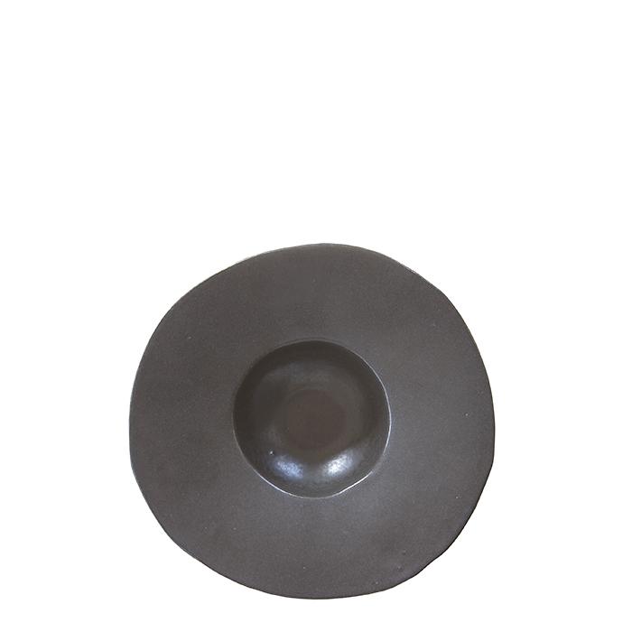 Piatto fondo bordo largo in gres nero d22.5 cm
