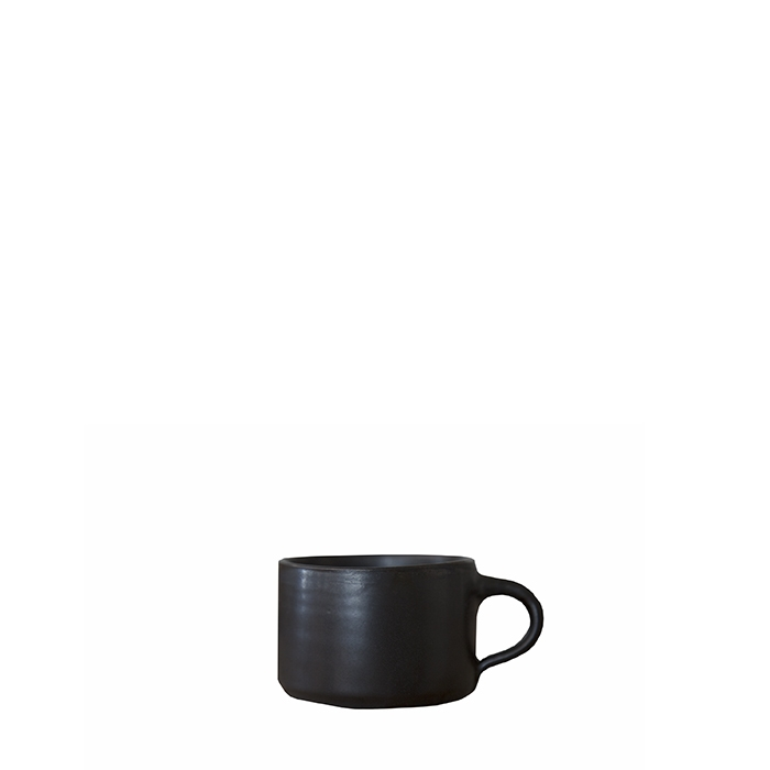 Mini tasse cylindrique pour cafe en gres noir d7 h5 cm