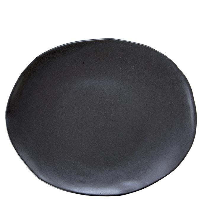 Piatto ovale in gres nero 30 x 40 cm