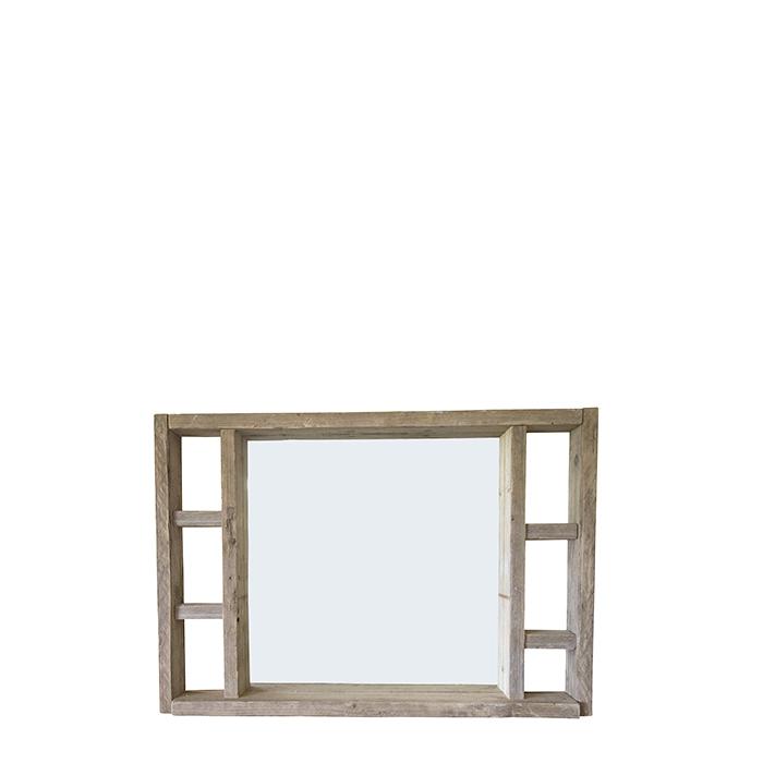 Miroir en bois brut couleur naturel avec etageres laterales 130 x 90 cm