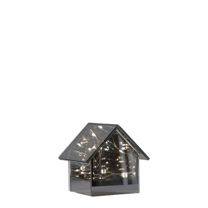 Maison en verre miroir avec 8 lumieres 10 x 10 h10.5 cm