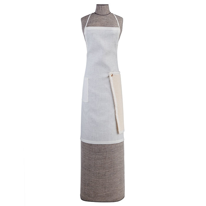 Grembiule 100%lino plain01 1tasca canovaccio panna