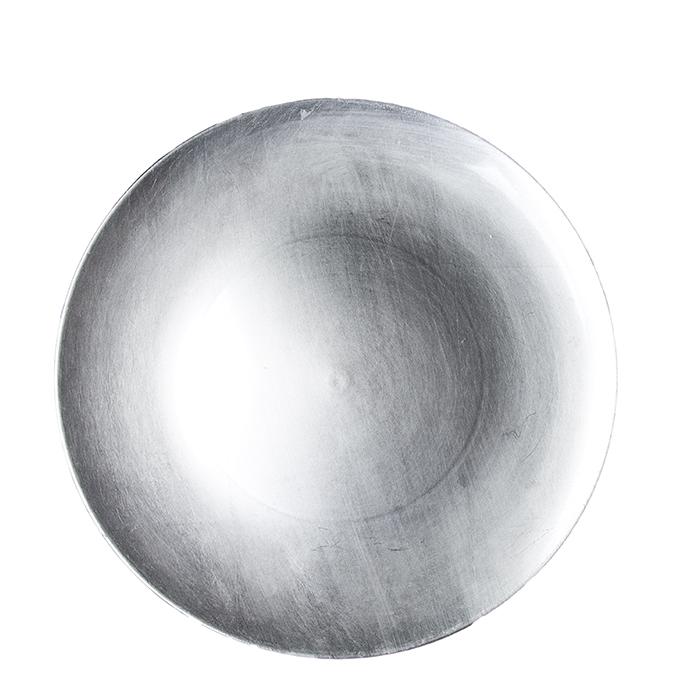 Sous-assiette en plastique argent d33 cm