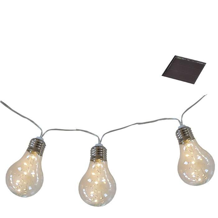 10 solar light plastic bulbs wire for outdoor use 500 cm