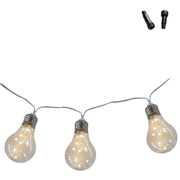 Fil de 10 ampoules en plastique connectable avec prise de courante indique pour l'usage interieur et exterieur 500 cm