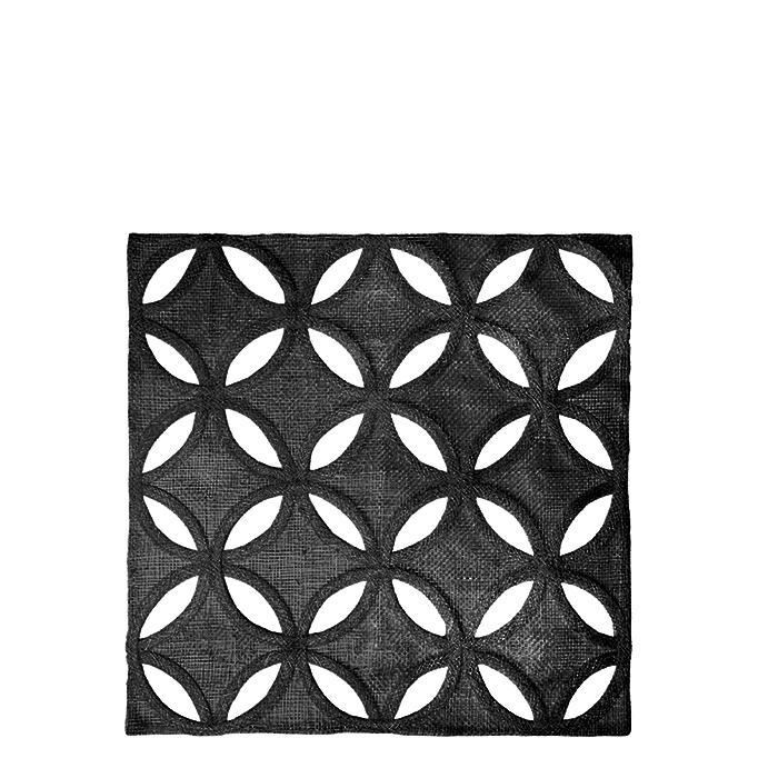 Sottopiatto quadro in abaca nero petali forati 36 x 36 cm