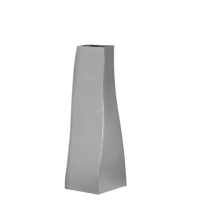 Vaso in alluminio attorcigliato rettangolare h32.5 cm