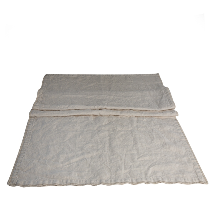 100% cream linen runner with embroidered edges 50 x 160 cm