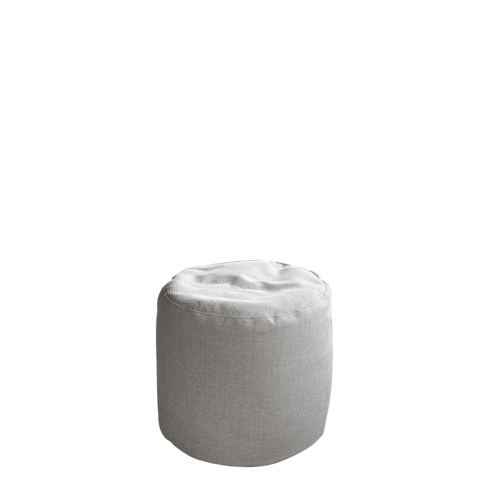 Cream cylindrical pouf with removable lining for outdoor use d50 h50 cm
