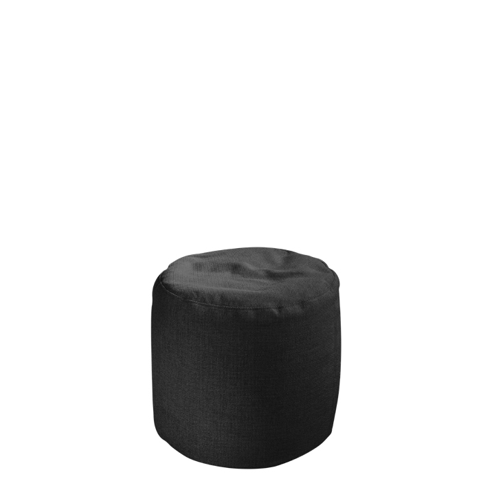 Black cylindrical pouf with removable lining for outdoor use d50 h50 cm