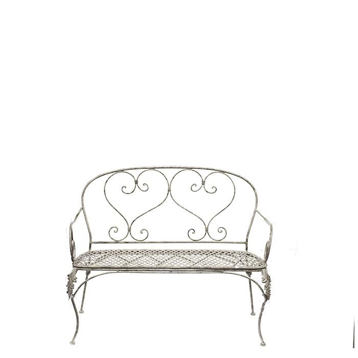 Grey inlaid iron bench 43 x 106 h93 cm