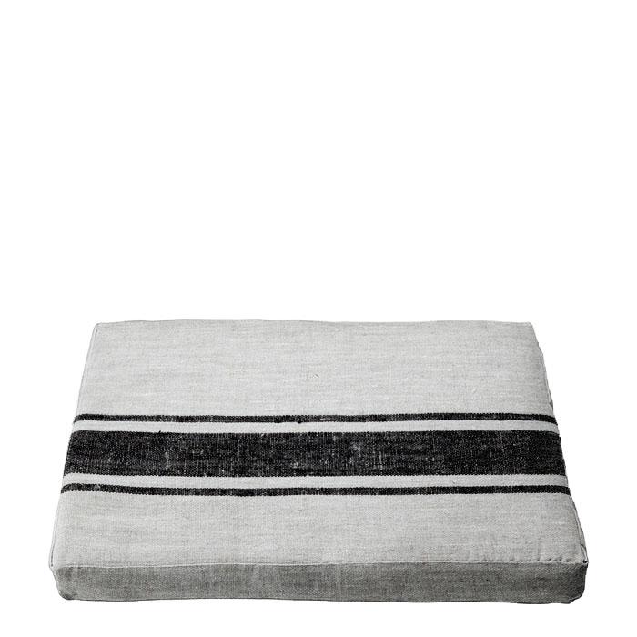 Cuscino 100% lino naturale e nero con zip 47 x 72 h6 cm