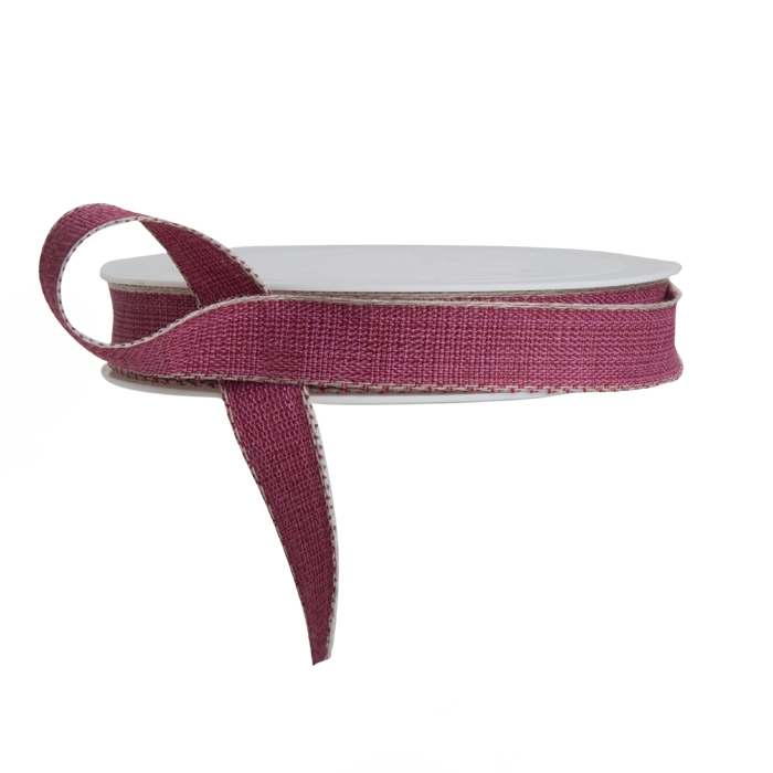 Dark rose ribbon with linen edge