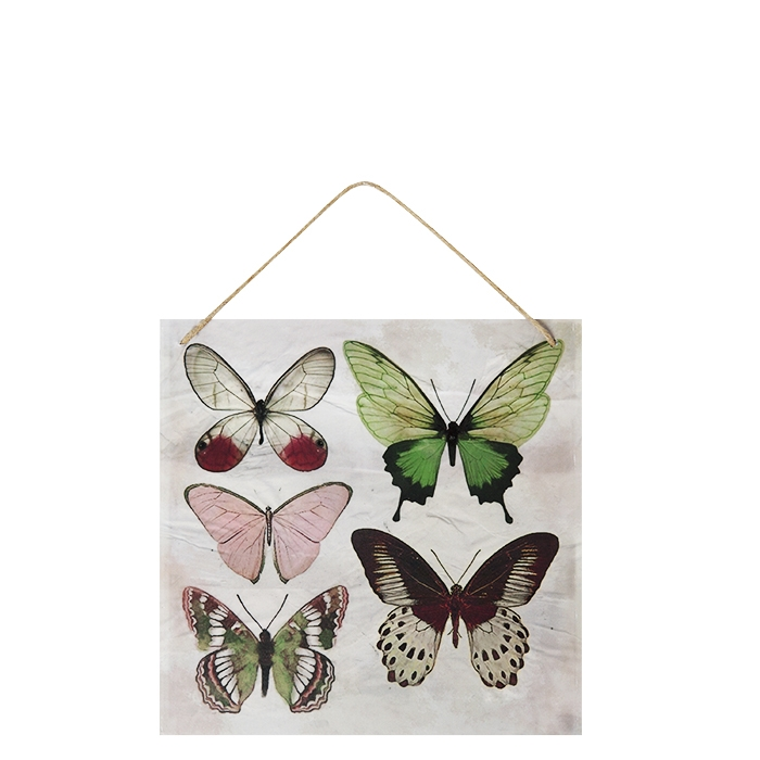 Tin-plated board with butterflies 20 x 20 cm